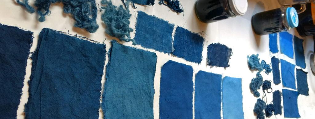 Teñido con índigo natural sobre algodón, lino y lana