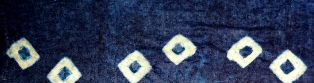 banner Shibori amarras teñido con índigo eco
