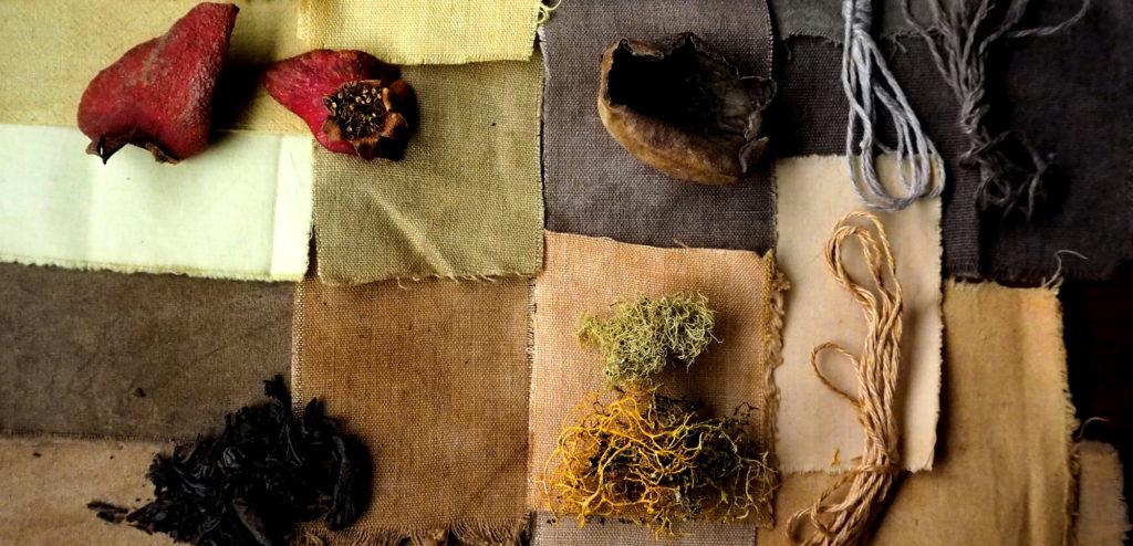 tintes naturales de granada, nogal, té y liquen sobre fibras vegetales