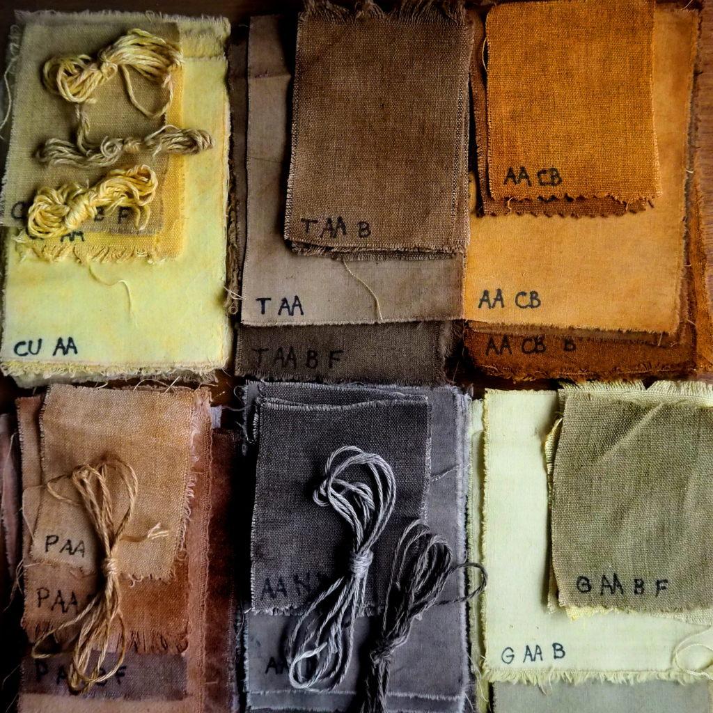 tintes naturales de cúrcuma, té, cebolla, palta, nogal y granada sobre fibras vegetales