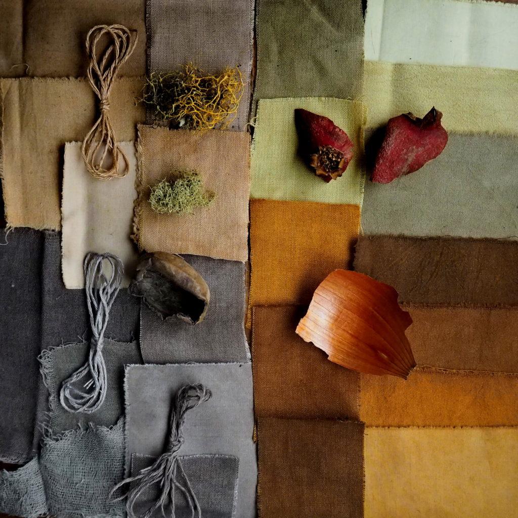 tintes naturales de liquen, granada, nogal y cebolla sobre fibras vegetales