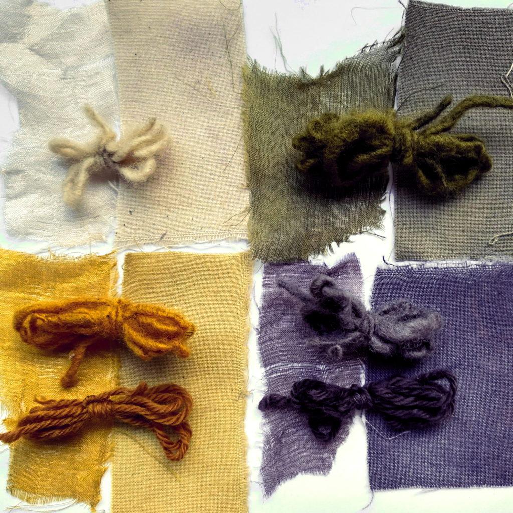 Teñidos con gallnut y ruibarbo y sulfato de Fe como modificador del color