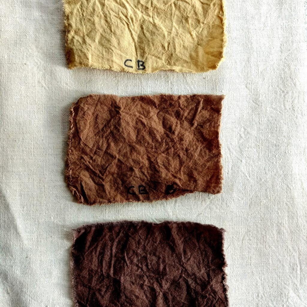 Teñidos con corteza de castaño, bicarbonato y sulfato de Fe