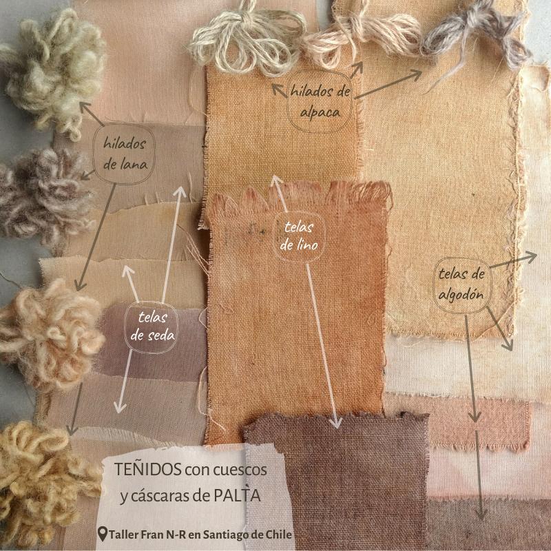 Teñidos con palta sobre lino, algodón, lana, alpaca y seda.