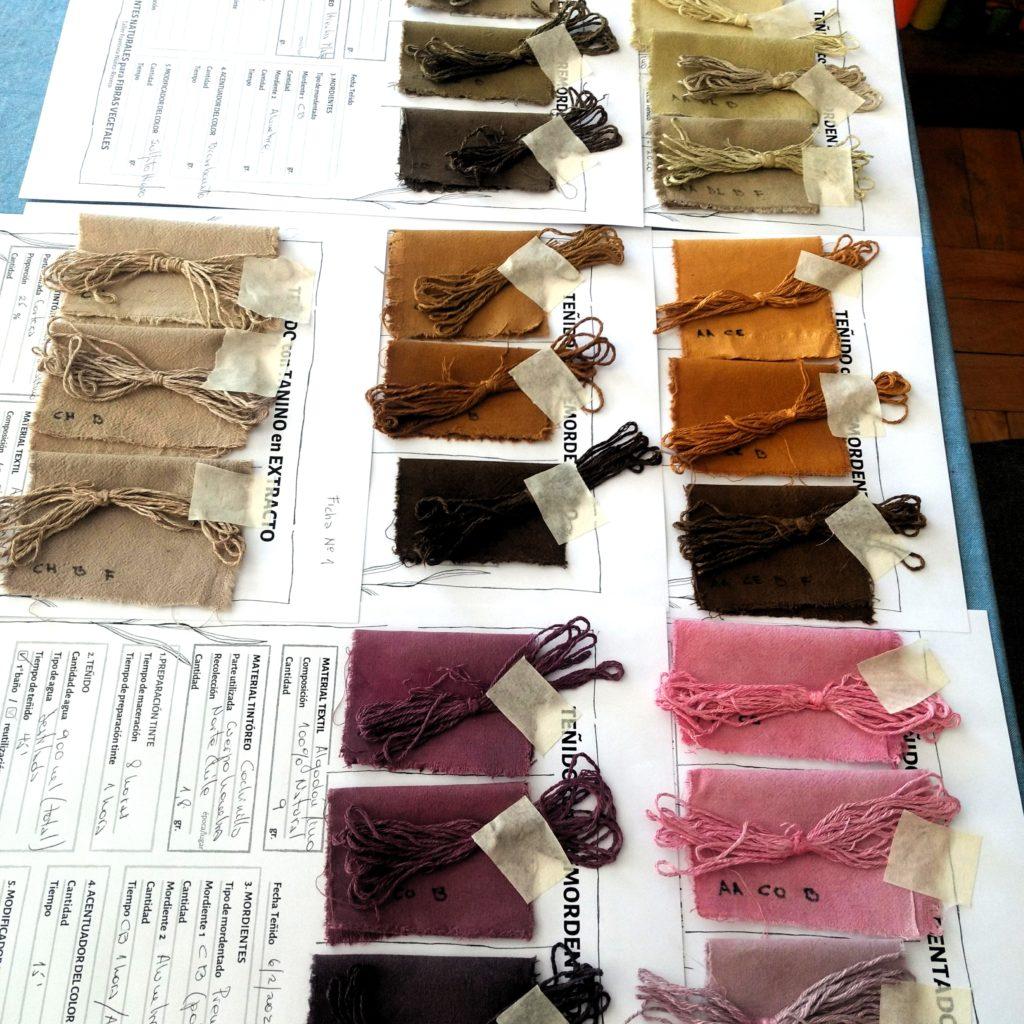 Fichas de teñido sobre algodón y lino